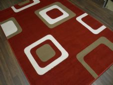 Rugs Approx 8x5 160x230cm Woven Backed Squares Quality Rugs Red/Beiges/cream